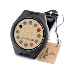 Natural Bamboo Wooden Watch with Genuine Brown Leather Strap Japanese Quartz Movement Casual Quartz Watches With Gift Box