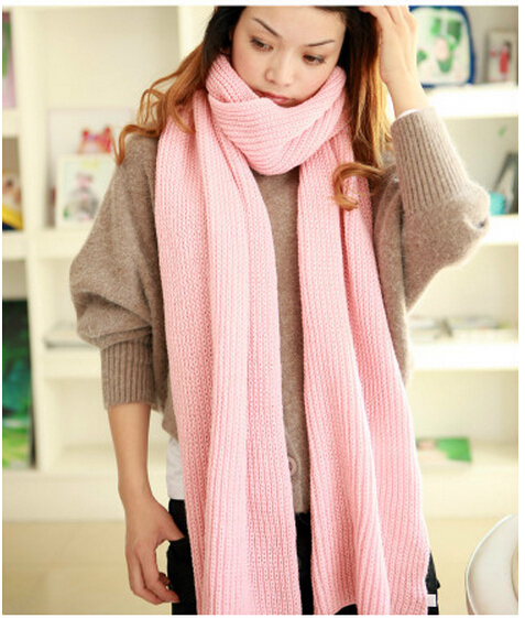Knit Wool scarf female winter 2015 new Knit Coarse lines lengthened warm soft Shawl scarf Autumn and winter Scarf shawl female(China (Mainland))