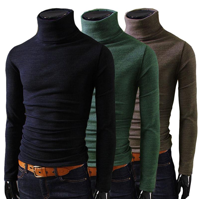 2014 Fashion New Men T Shirts Turtleneck Slim Fit Long