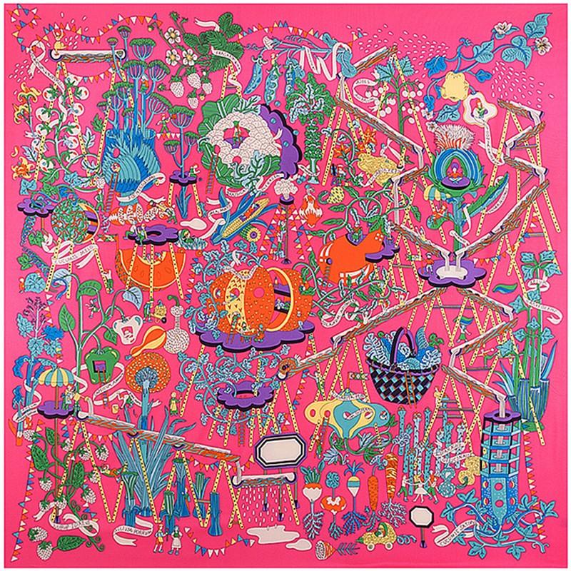 130*130cm 2017 cheap pashmina silk scarf square print magic farm 100% twill scarf women winter scarfs for women Christmas gift