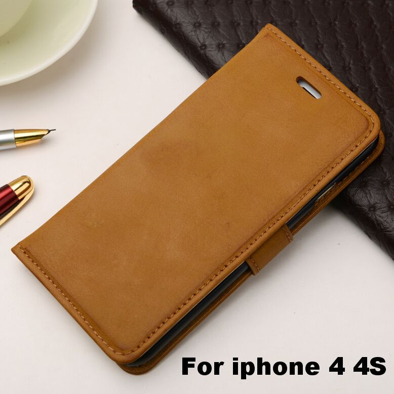 Retro Style Stand Leather Case apple iPhone 4 4S Wallet Design Phone Bag Cover Flip Card Holder 5 colors - IRS Trading Co.,Ltd store