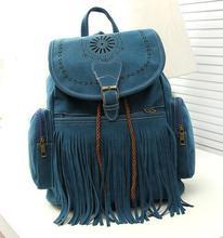 Women backpack vintage school backpacks female faux suede leather bolsas mochilas femininas(China (Mainland))
