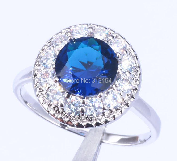 Generous ! & Retail Women Jewelry Sapphire Cubic Zirconia Silver Ring Size 7 / 8 NJ6365 - cn_jewelry store