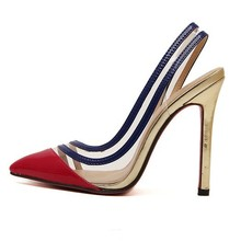 Super Beautiful Fashion Women's Shoes Transparent Film Color Matching High Heels Pointed Toe Slingbacks Female Shoes Top(China (Mainland))