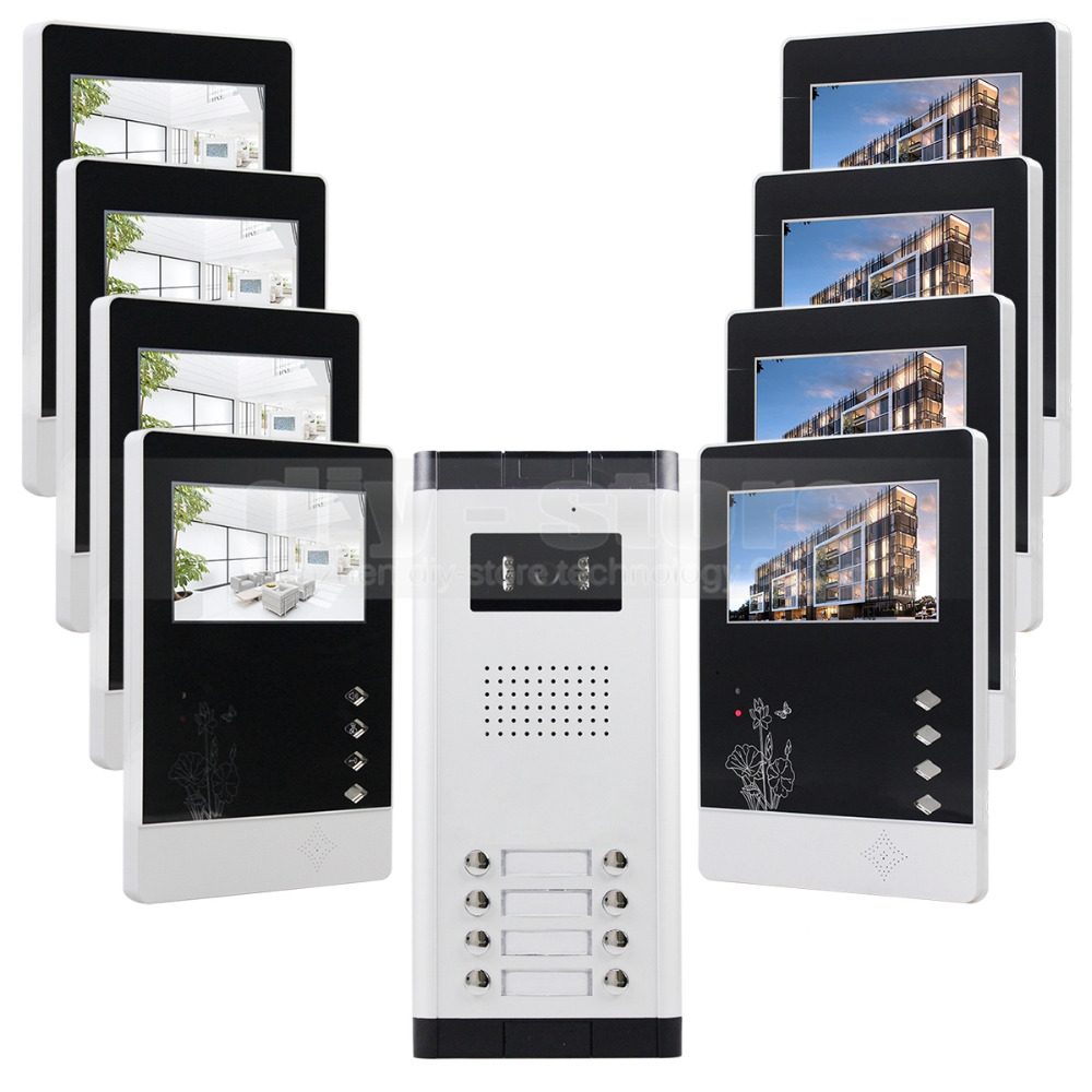 """DIY 4.3"""" 4-Wired Apartment Video Door Phone Audio Visual Intercom Entry System IR Camera For 8 Families(China (Mainland))"""