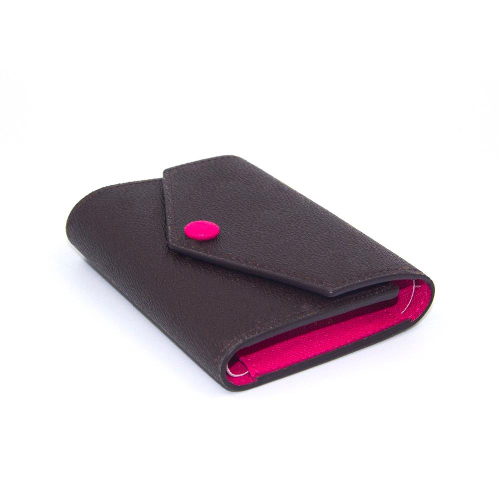 Feminine designer brand new compact leather wallet vanity short money clips iconic monogram canvas purse luxury clutch bag case(China (Mainland))