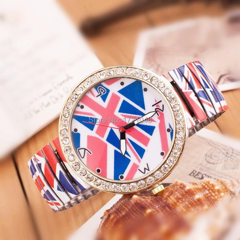 New Fashion Quality Watch Printing color elastic band watches Fashion Rhinestone Jewelry Flag Watch Quartz Wristwatches