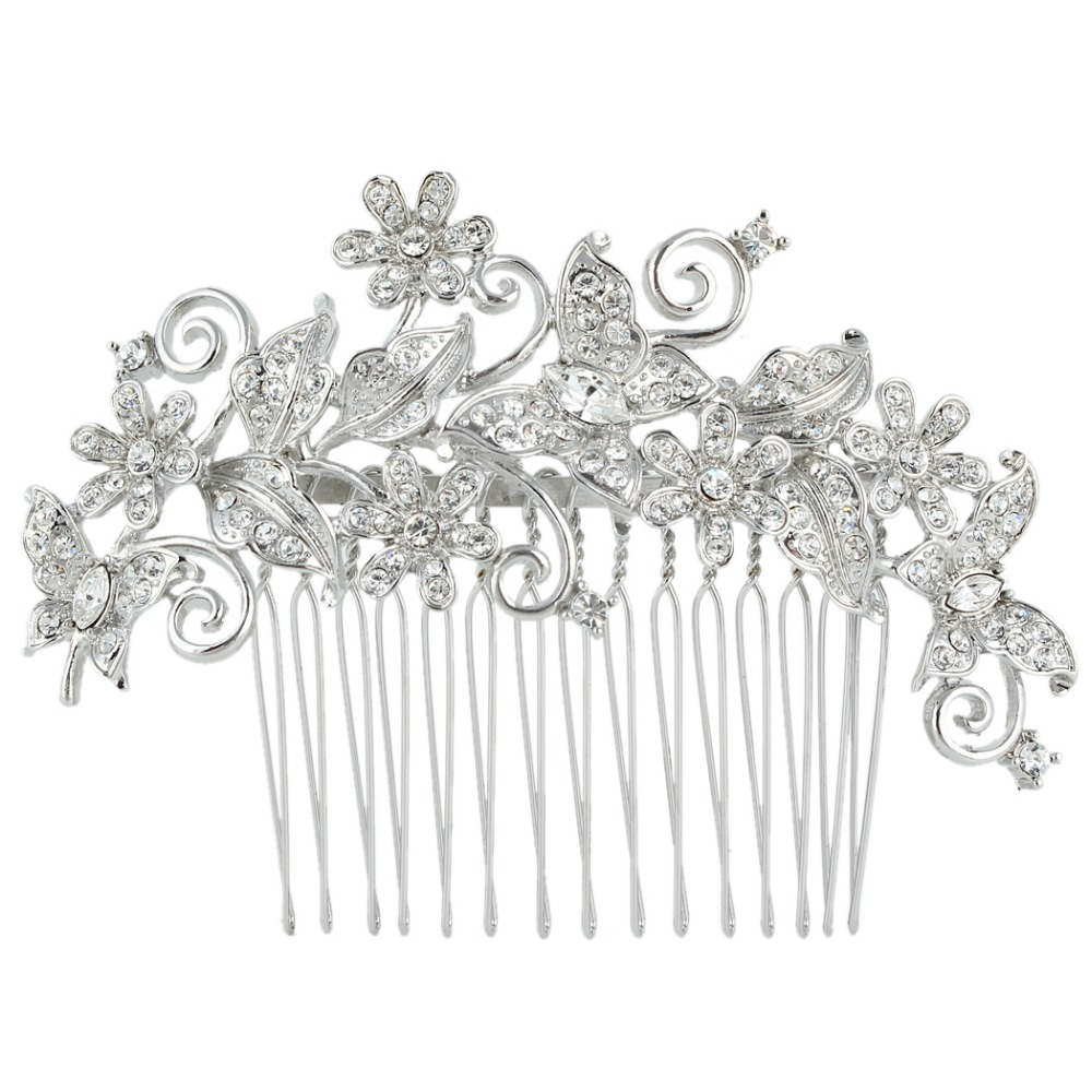 BELLA 2015 Bridal Butterfly Hair Comb Clear Austrian Crystal Head Piece For Women Silver Wedding Hair Piece Bridesmaid Jewelry(China (Mainland))