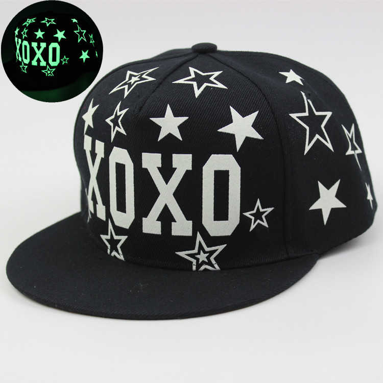 Free shipping fashion sell like hot cakesLuminous Cap Summer Students Xoxo Exo Flat Fluorescent Hat Hip-hop Baseball(China (Mainland))