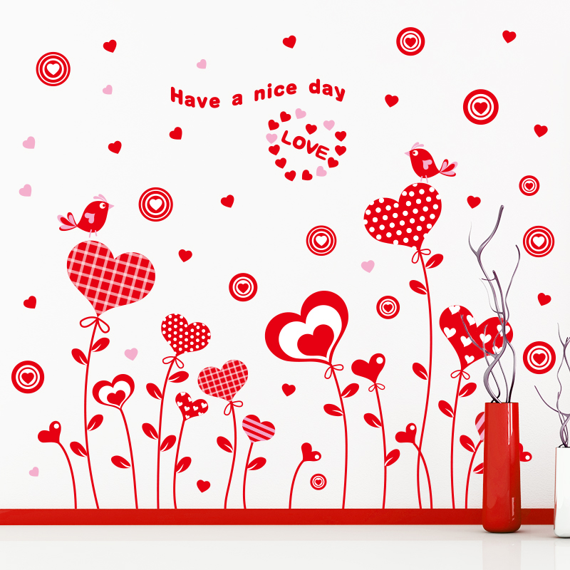Red Love adesivo de parede Love Flower Balloon Festival Red Large Wall Stickers For Kids Rooms Interior Decoration Free Shipping(China (Mainland))