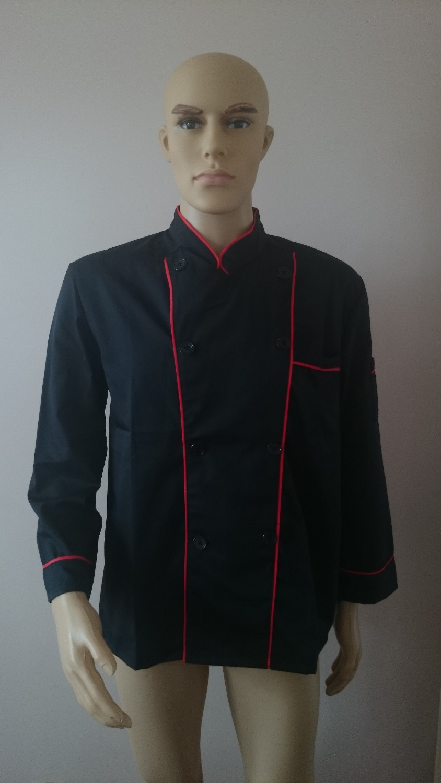 Long Sleeve Classic Kitchen Cook Chef Waiter Waitress Coat Uniform Jacket Black Red