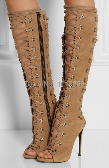 2015 brand new thigh high boots open toe lace up gladiator