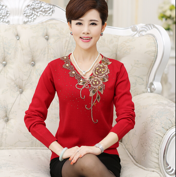 Embroidery Bottom Women Sweater Large Size Middle Age Mother Top Autumn New Design Long Sleeve Knitt