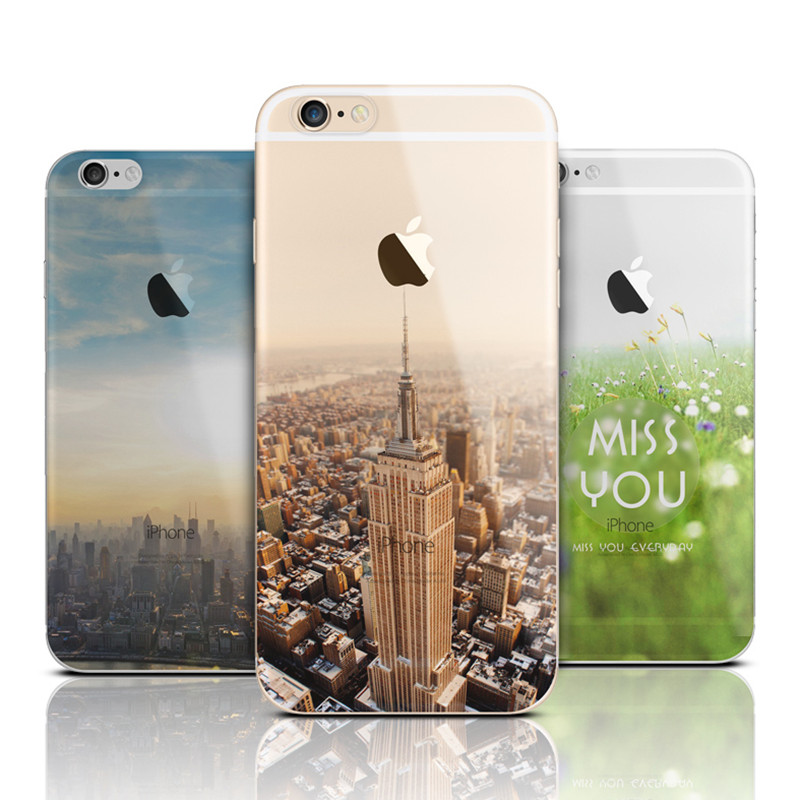 Ultra Thin Soft Silicone Mountain Back Cover Case For Apple iPhone 6 6s / 6 6S Plus Transparent Back Cover Case For iPhone6(China (Mainland))