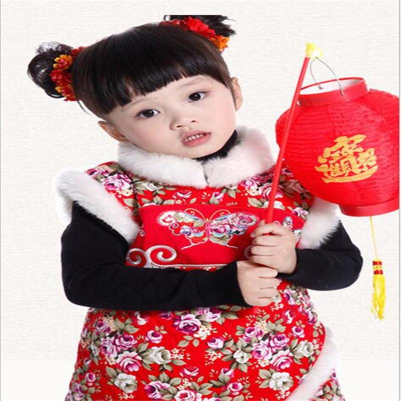 Скидки на 2016 Горячее надувательство девочка одежда мода Китай стиль детское платье для осени и зимы толстые теплые детская одежда