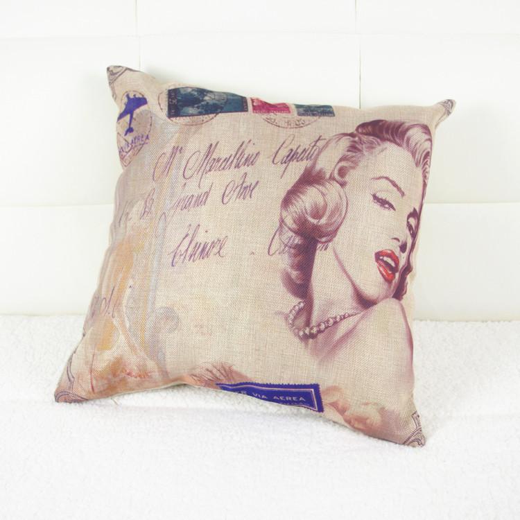 Car Covers Linen And Cotton Marilyn Monroe Pattern Pillow Case For Living Room Capa De Almofada