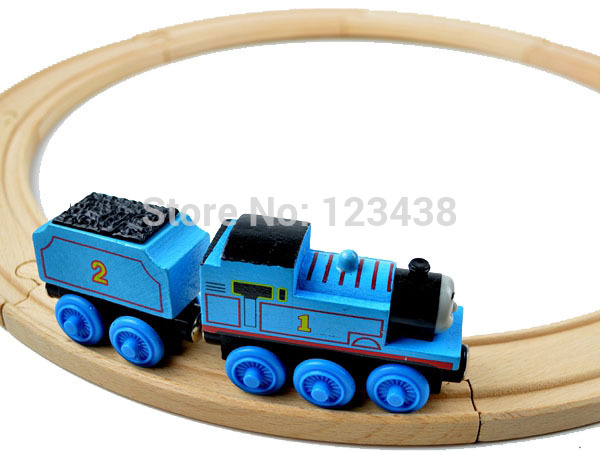 Beech Wood Thomas Train Circular Track Railway Accessories Toys,1SET=Track+Locomotive+Carriage(China (Mainland))