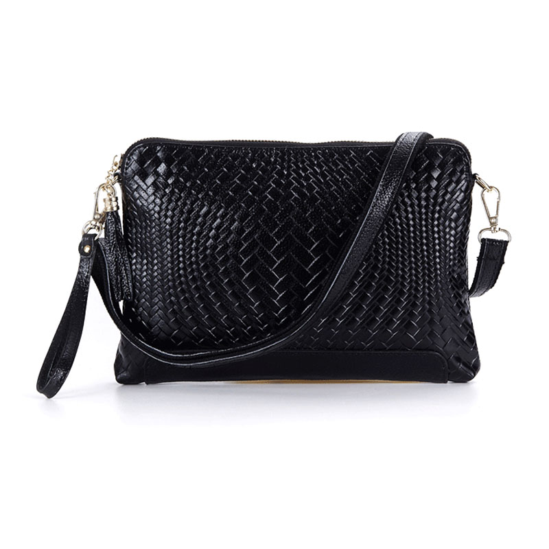 100% Genuine Cow leather Women Bag Fashion Weave Pattern Shoulder Messenger Clutch Wristlet Bag Korea Style Tassel Handbag(China (Mainland))
