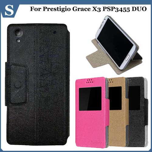 Luxury Ultra-thin flilp pu leather stand with window phone case for Prestigio Grace X3 PSP3455 DUO,gift(China (Mainland))