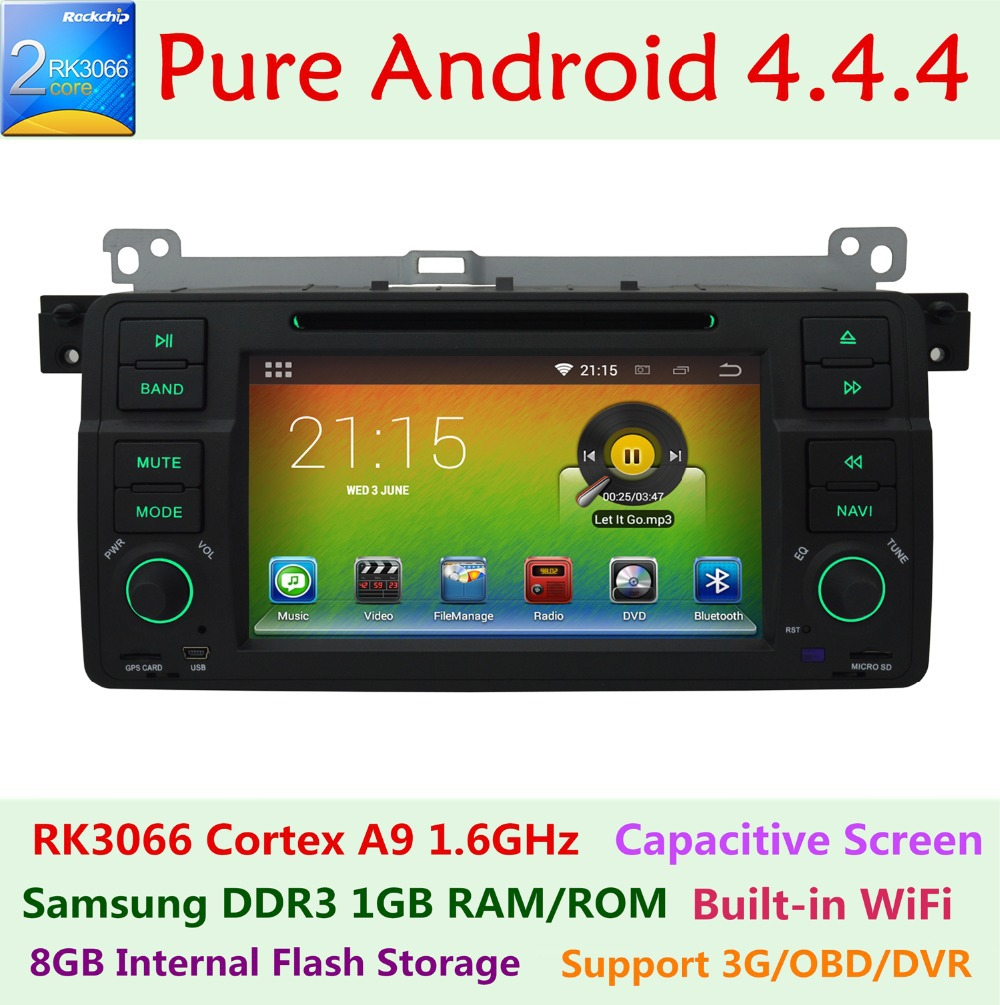 Car DVD GPS Navigation Player for bmw 3 Series E46 M3 1998-2006 Rover 75 MG ZT Pure Android 4.4.4 1.6G CPU Wifi 3G Radio System(China (Mainland))