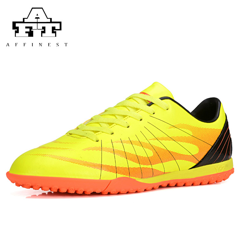 Men's TF Indoor Soccer Shoes Waterproof PU Leather Football Boots Soccer Cleats Football Shoes botines de futbol original(China (Mainland))