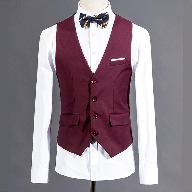 Men Suit Vest Purple Red Wedding Groomsmen Tuxedo Waistcoat Male Solid Dress Slim Fit For Man Formal Blazer Vest Man gilet