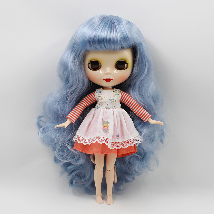 Blyth doll with joint body Blue long hair B female with four colors big eyes Nude bjd doll 12 fashion dolls for girls gifts(China (Mainland))