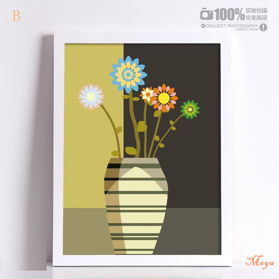 Abstract Flower Vase Picture Frame Home Decor Canvas
