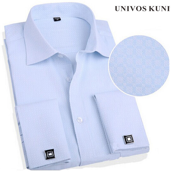 2015 French Cuff Button Men Dress Shirts New Non Iron Slim Fit Long Sleeve Brand Formal Business Fashion Shirts Camisa 4XL FHY81(China (Mainland))