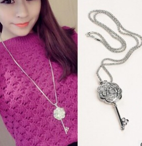Star Jewelry Fashion Choker Sliver Plated Rose Crystal Key Necklaces For Women 2015 Spring New Statement necklaces & pendants(China (Mainland))