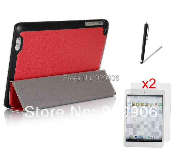 Stylus + 2*Clear Films + 3-Folding Magnetic PU Leather Case Stand Wake/Sleep Cover For HP Compad 8'' 1401 Tablet Free Shipping(China (Mainland))