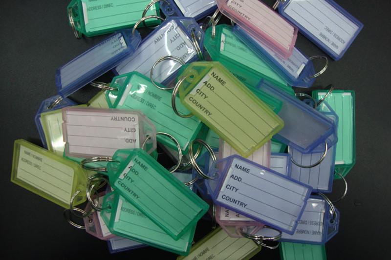 Free Shipping 1000pcs/lot Blank Plastic Rectangle Keychains luggage tag Insert Photo Keyrings key card number(China (Mainland))