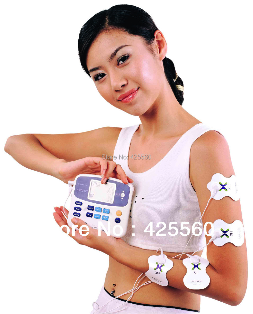 5 Pieces Electrical Stimulator 2 Channels XFT-320 Machine Digital Massage With Accupuncture Pen & 4 pcs Electrodes Pads(China (Mainland))
