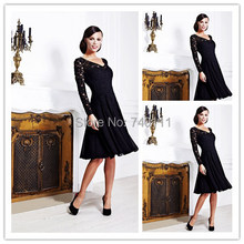 Wholesale Black Lace Top Mother Of the Bride Suits Dresses Knee Length Mother Of The Groom Evening Dress Bridesmaid Dresses New(China (Mainland))
