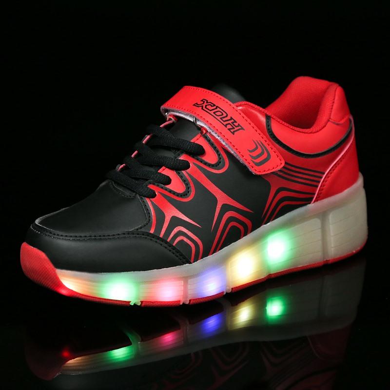 Children Heelys Jazzy Junior Girls Boys Shoes Kids LED Light Roller Skate Sneakers Wheels - romantic mill store