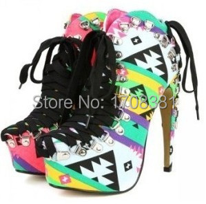 New summer 15cm high heels colorful ankle Shoes for women,4.5 CM platform mens lace up ankle Shoes,male Shoes plus S-8890(China (Mainland))
