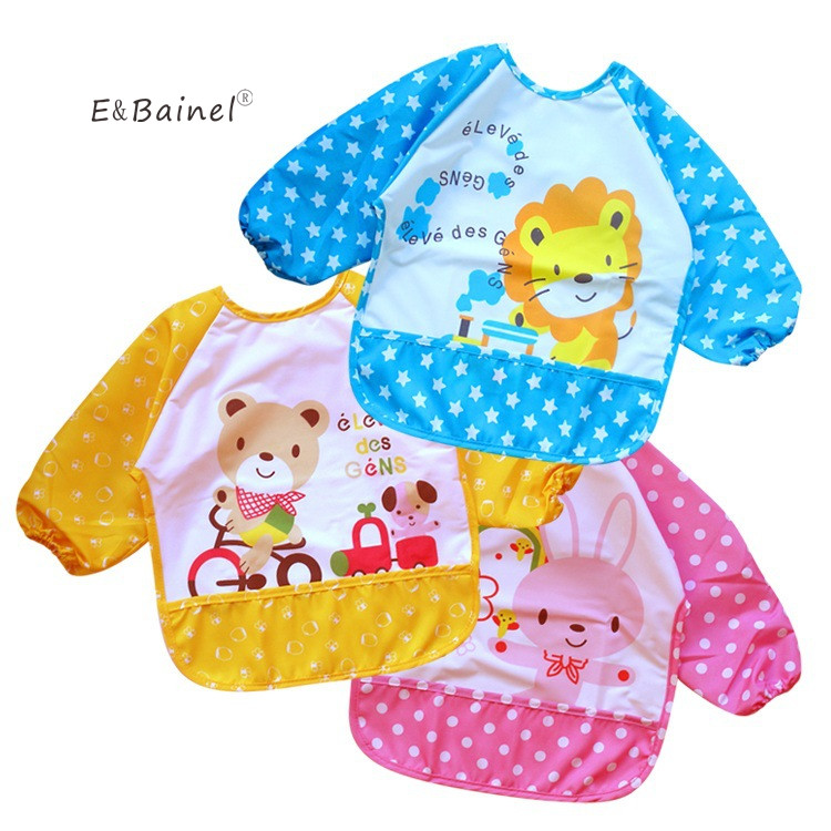 Baby Bibs Infant Burp Cloths Long Sleeve Waterproof Baby Animals Toddler Scarf Feeding Smock Baby Feeding Accessories