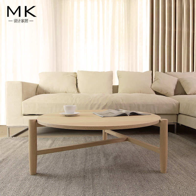 Simple Modern Coffee Table Round Wood Coffee Table TV