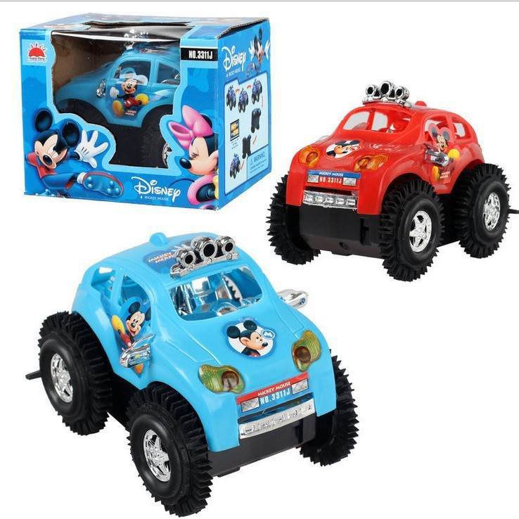 Mini Rolling Stunt Cars Mickey Cross Country Electric Car Turn Over At Barrier Off-road Vehicle Dancing Toy Car Best Gift Kid(China (Mainland))