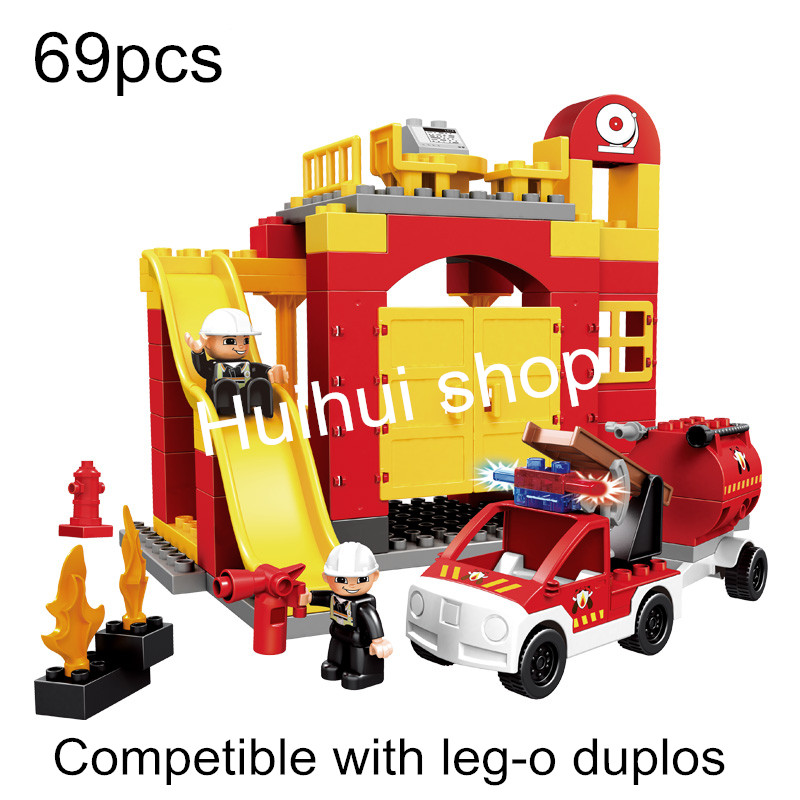 Fire Department fire engine Big Building Blocks 69pcs Self-Locking Bricks Rainbow Color Blocks Toys Compatible with Legoe DuploS<br><br>Aliexpress