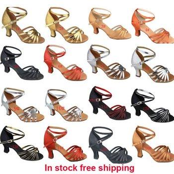 New Arrival Latin Dance Shoes Women's Ballroom Shoes 6cm Heels Satin  EU Size 34-40 Free Shipping