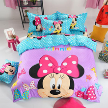 Home Textile Cartoon Bedding Set Mickey Minnie Mouse Pattern Bed Linen Include Duvet Cover Bed Sheet Pillow Case Free Shipping(China (Mainland))
