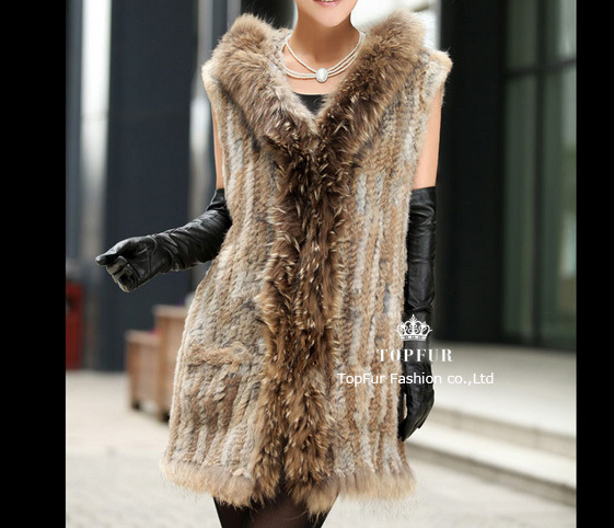 Free Shipping Fashion Women New Real Genuine Rex Rabbit Fur Vest Gilet waistcoat Fur Vest Outwear Garment TPTF106(China (Mainland))