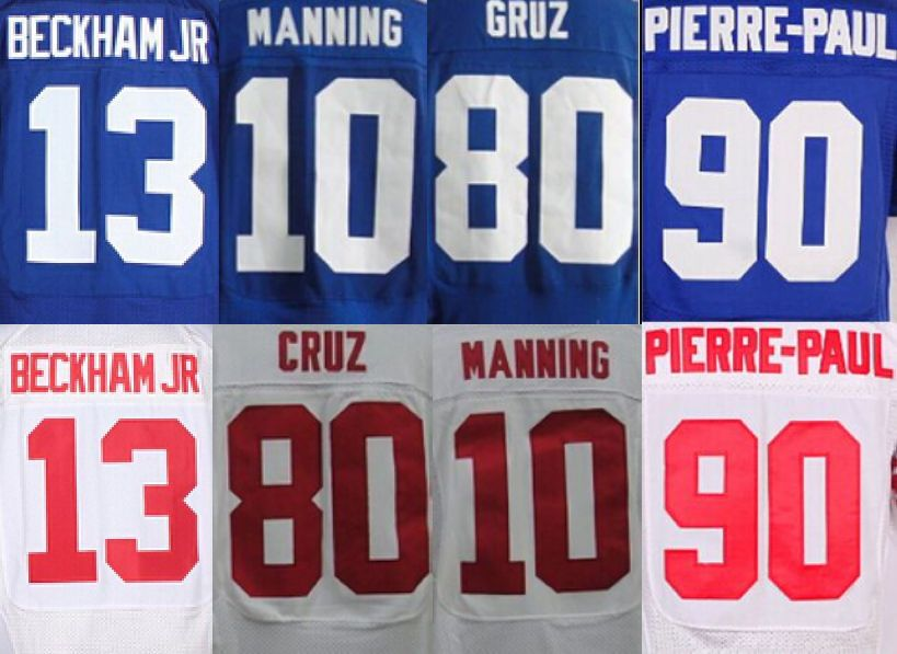 #13 Odell Beckham JR jersey #10 Eli Manning jersey #80 Victor Cruz #90 Jason Pierre-Paul stitched top quality size M-XXXL(China (Mainland))