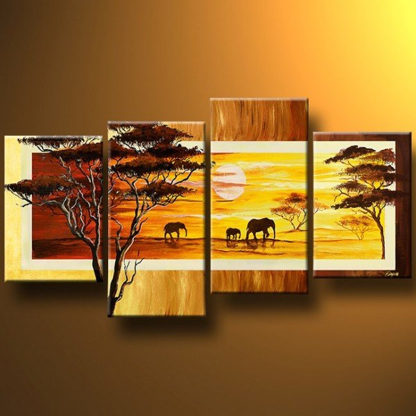 100% hand painted discount 4 panel african canvas art framed wall ...