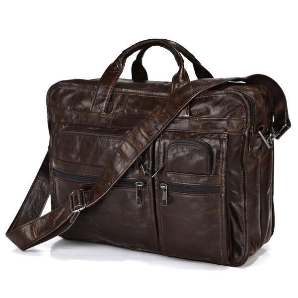 Гаджет  Promotion Good Quality 100% Real Genuine Leather Men Briefcase Portfolio Cowhide Messenger Bags 15 inch Laptop Bag #VP-J7093 None Камера и Сумки