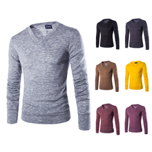 2015 New Arrival Men's Sweater Thin Casual V-neck Slim Fit Long Sleeves Knitted Men Sweaters Pullovers M~XXL 7 color