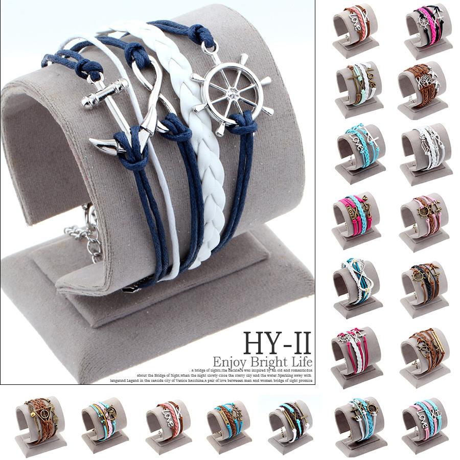 Hot men Fashion jewelry love owl Charm anchor leather bracelets best friend friendship bracelet and bangles pulseira de ancora(China (Mainland))