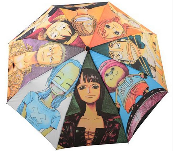 Novelty Items Fashion Japanese Cartoon One Piece Three Folding Automatic Umbrella Sun Rain Umbrellas For Men & Women(China (Mainland))