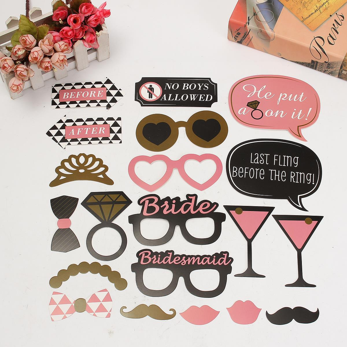 20Pcs Photo Booth Props DIY Mask Mustache Stick Bridal Bride To Be Design Decor Festive Party Events Decoration Favor Supplies(China (Mainland))